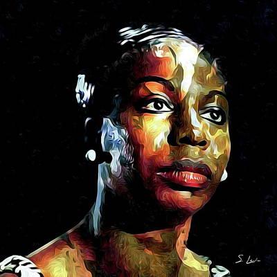 Digital Art - Nina Simone American Singer by S Art