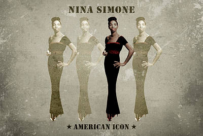 Songstress Digital Art - Nina Simone by David Richardson