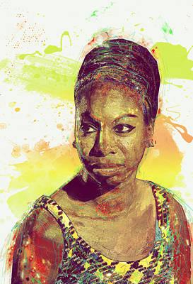 Nina Simone Art Print by Elena Kosvincheva