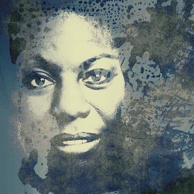 Celebrity Mixed Media - Nina Simone - Here Comes The Sun  by Paul Lovering