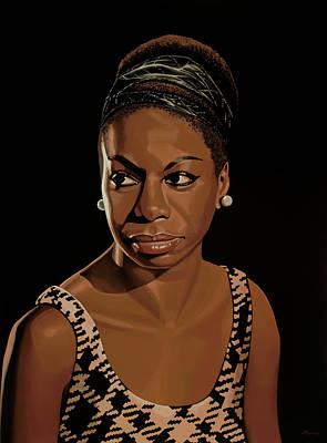 Black Gospel Painting - Nina Simone Painting 2 by Paul Meijering