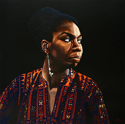 Black Woman Painting - Nina Simone Painting by Paul Meijering