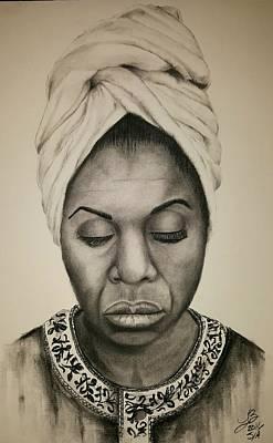 Musicians Drawings - Nina Simone by Tim Brandt
