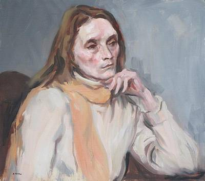 Painting - Nina With Peach-colored Scarf by Robert Holden