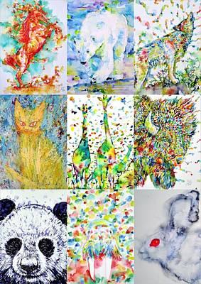 Painting - Nine Animals - Version 1 by Fabrizio Cassetta