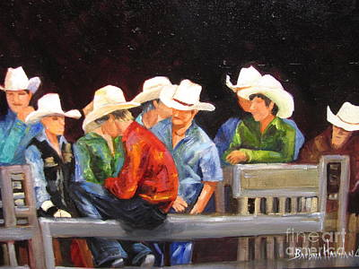 Painting - Nine Cowboys On A Fence by Barbara Haviland