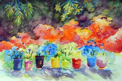 Painting - 9 Potted Plants by Caroline Patrick