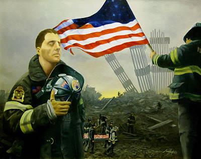 Nine Flags Eleven Fireman One Body Original by Jim Horton
