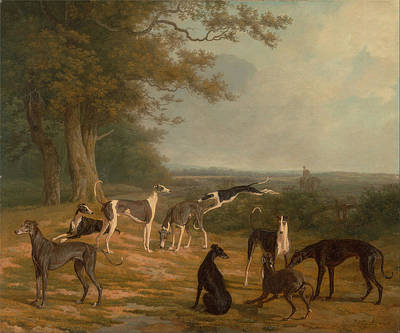 Dog In Landscape Painting - Nine Greyhounds In A Landscape by MotionAge Designs