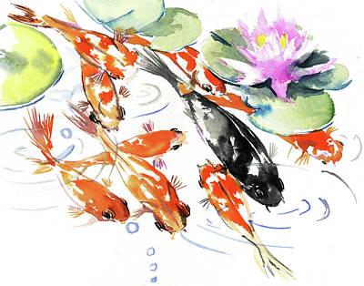 Painting - Nine Koi Fish, Feng Shui Artwork by Suren Nersisyan