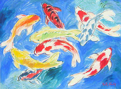 Wall Art - Painting - Nine Koi by Sally Huss