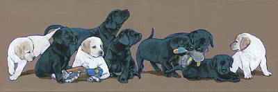 Painting - Nine Lab Puppies by Nadi Spencer