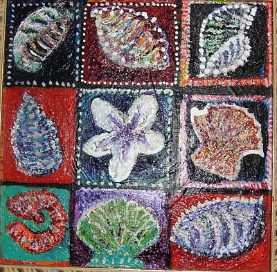 Nine Pretty Shells No Frame Art Print by Anne-Elizabeth Whiteway
