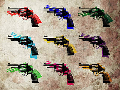 Nine Revolvers Art Print by Michael Tompsett