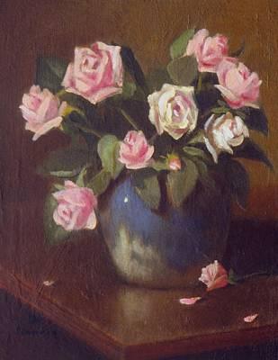 Nine Roses In Blue And White Vase Art Print by David Olander