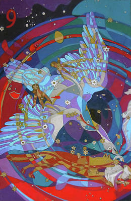 Swan Nebula Painting - Nine Stars Of A Swan Song by Denise Weaver Ross