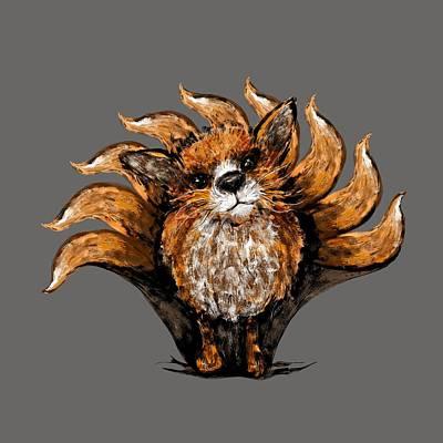 Digital Art - Nine Tailed Fox by Karen Renee
