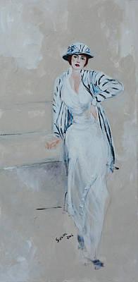 Retro Art Painting - Nineteen Twenties Lady In Striped Jacket by Susan Adams