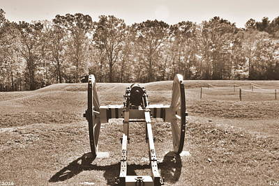 Photograph - Ninety Six National Historic Site Cannon Sepia by Lisa Wooten