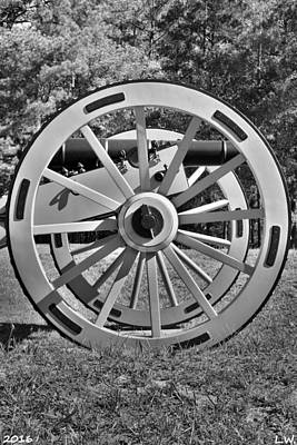 Photograph - Ninety Six National Historic Site Cannon Wheel Black And White by Lisa Wooten