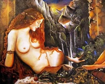 Painting - Ninhursag  Mountain Goddess  by Dalgis Edelson