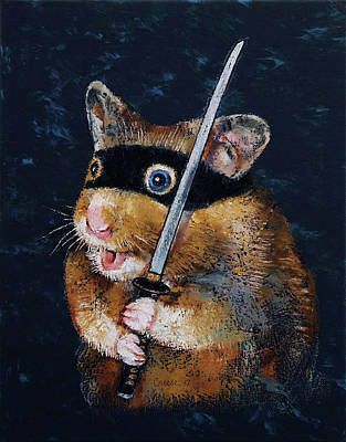 Saber Painting - Ninja Hamster by Michael Creese