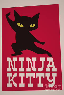 Samurai Mixed Media - Ninja Kitty Retro Poster by Monkey Crisis On Mars