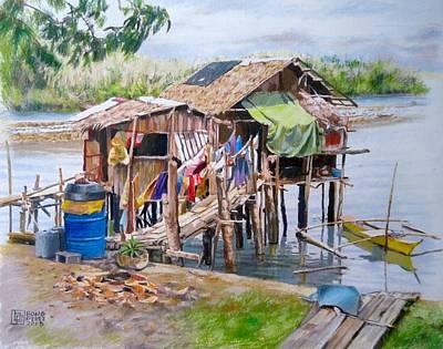 Nipa House Painting - Nipa Hut At The Bay by Bong Perez