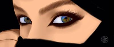 Enigma Digital Art - Niqab Woman by Mary Redmon