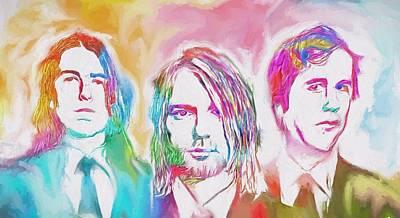Kurt Cobain Mixed Media - Nirvana Color Splash by Dan Sproul