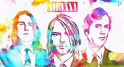 Kurt Cobain Mixed Media - Nirvana Watercolor Paint Splatter by Dan Sproul