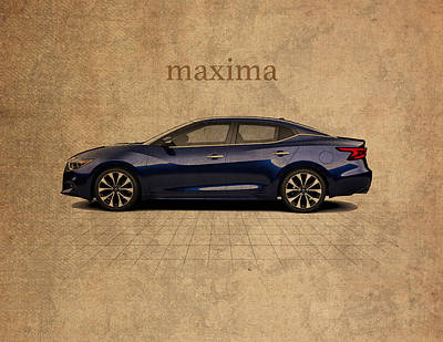 Maxima Wall Art - Mixed Media - Nissan Maxima Vintage Concept Art by Design Turnpike