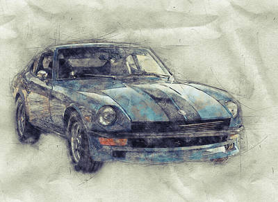 Mixed Media Royalty Free Images - Nissan S130 - Datsun 280ZX - Nissan Fairlady Z 1 - Automotive Art - Car Posters Royalty-Free Image by Studio Grafiikka