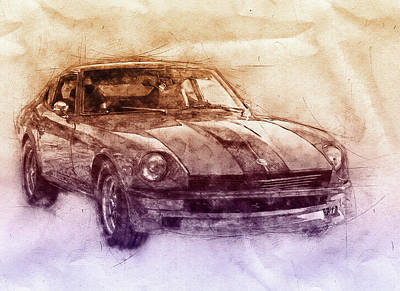 Sports Mixed Media - Nissan S130 - Datsun 280ZX - Nissan Fairlady Z 2 - Automotive Art - Car Posters by Studio Grafiikka