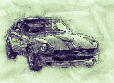 Mixed Media Royalty Free Images - Nissan S130 - Datsun 280ZX - Nissan Fairlady Z 3 - Automotive Art - Car Posters Royalty-Free Image by Studio Grafiikka