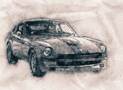 Mixed Media Royalty Free Images - Nissan S130 - Datsun 280ZX - Nissan Fairlady Z - Automotive Art - Car Posters Royalty-Free Image by Studio Grafiikka