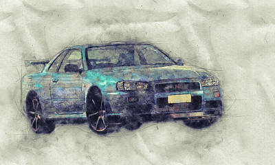 Mixed Media - Nissan Skyline Gt-r 1 - Spors Car - Automotive Art - Car Posters by Studio Grafiikka