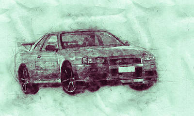 Royalty-Free and Rights-Managed Images - Nissan Skyline GT-R 3 - Spors Car - Automotive Art - Car Posters by Studio Grafiikka