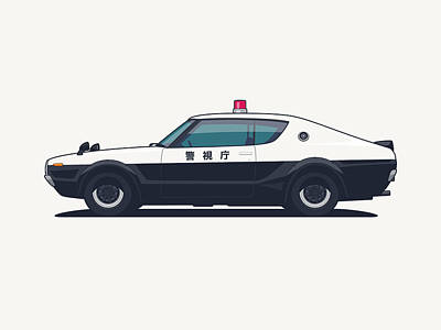 Nissan Skyline Gt-r C110 Japan Police Car Art Print