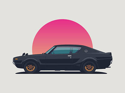 Nissan Skyline Gt-r C110 Side - Sunset Black Landscape Art Print
