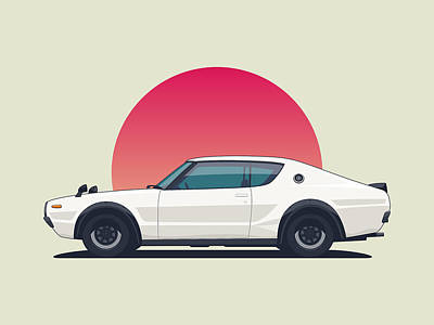 Nissan Skyline Gt-r C110 Side - Sunset White Landscape Art Print