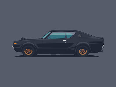 Nissan Skyline Gt-r C110 Side - Plain Black Art Print