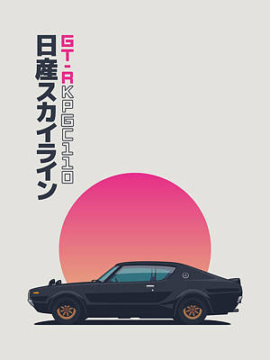 Nissan Skyline Gt-r C110 Side - Vert Black Art Print