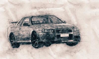 Skylines Mixed Media - Nissan Skyline GT-R - Spors Car - Automotive Art - Car Posters by Studio Grafiikka