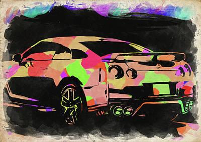 Photograph - Nissan Skyline Gtr Watercolor by Ricky Barnard