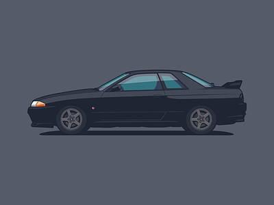 Touring Wall Art - Digital Art - Nissan Skyline R32 Gt-r - Plain Black by Ivan Krpan