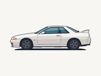 Touring Wall Art - Digital Art - Nissan Skyline R32 Gt-r - Plain White by Ivan Krpan
