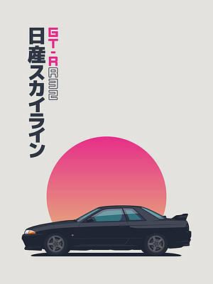 Touring Wall Art - Digital Art - Nissan Skyline R32 Gt-r - Vert Black by Ivan Krpan