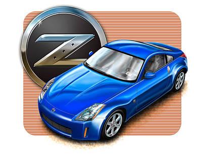 Digital Art - Nissan Z350 Blue by David Kyte