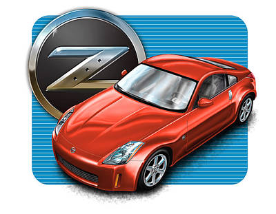 Digital Art - Nissan Z350 Red by David Kyte